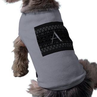 Modelo azteca negro del monograma camiseta sin mangas para perro