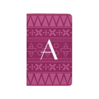 Modelo azteca púrpura del ciruelo del monograma cuadernos grapados