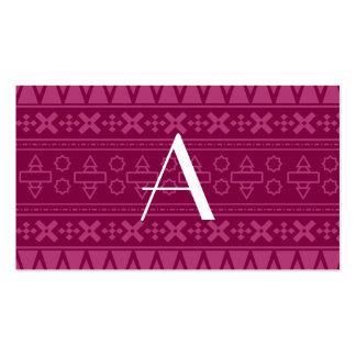 Modelo azteca púrpura del ciruelo del monograma tarjetas personales