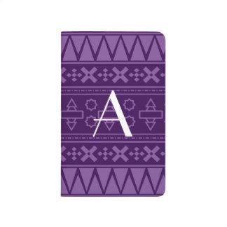 Modelo azteca púrpura del monograma cuaderno