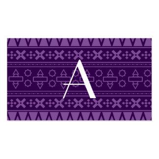 Modelo azteca púrpura del monograma tarjeta de visita