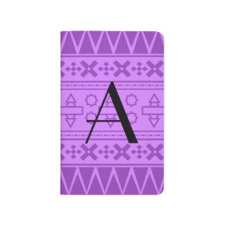 Modelo azteca púrpura en colores pastel del monogr cuaderno grapado