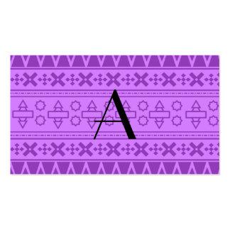 Modelo azteca púrpura en colores pastel del monogr tarjetas de negocios