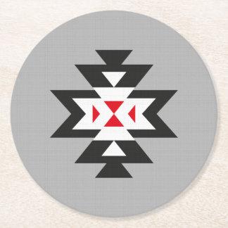 Modelo azteca rojo blanco negro gris de Navajo Posavasos Desechable Redondo