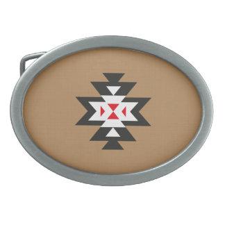 Modelo azteca rojo blanco negro marrón claro de hebillas de cinturon ovales