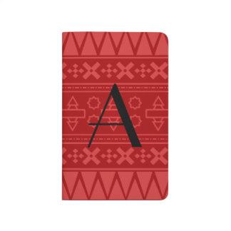 Modelo azteca rojo del monograma cuadernos grapados