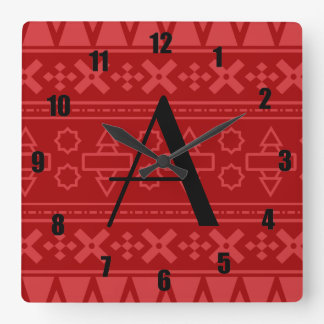 Modelo azteca rojo del monograma relojes