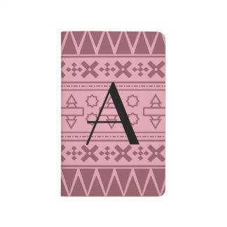 Modelo azteca rosado bonito del monograma cuadernos grapados