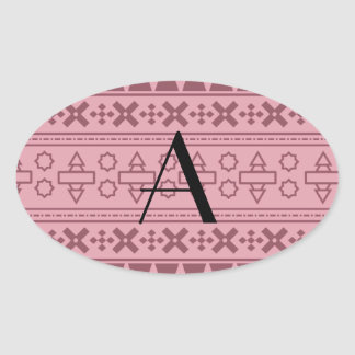 Modelo azteca rosado bonito del monograma calcomania oval
