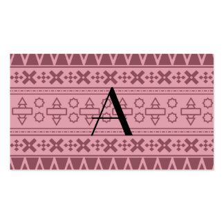 Modelo azteca rosado bonito del monograma tarjeta de negocio