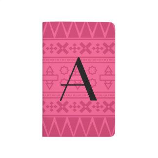 Modelo azteca rosado del monograma cuadernos grapados