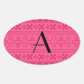 Modelo azteca rosado del monograma pegatinas de óval personalizadas