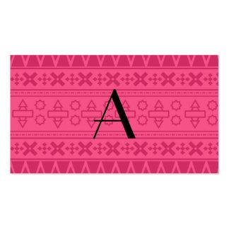 Modelo azteca rosado del monograma tarjeta de visita
