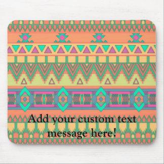 Modelo azteca tribal de Ikat del zigzag colorido d Alfombrillas De Raton