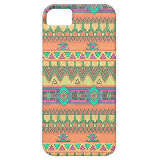 Modelo azteca tribal de Ikat del zigzag colorido iPhone 5 Funda
