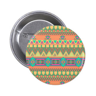 Modelo azteca tribal de Ikat del zigzag colorido Pin Redondo De 2 Pulgadas