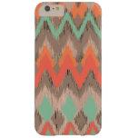 Modelo azteca tribal de madera del ikat del zigzag funda de iPhone 6 plus barely there