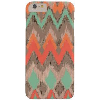 Modelo azteca tribal de madera del ikat del zigzag funda para iPhone 6 plus barely there