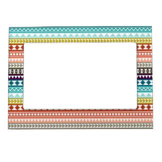 Modelo azteca tribal del arco iris colorido marcos magnéticos para fotos