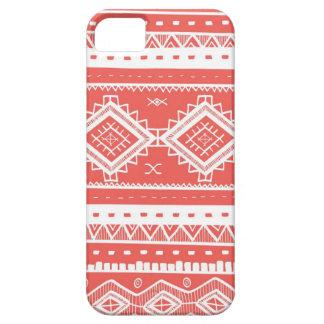 Modelo azteca tribal del cordón (coral) iPhone 5 carcasas