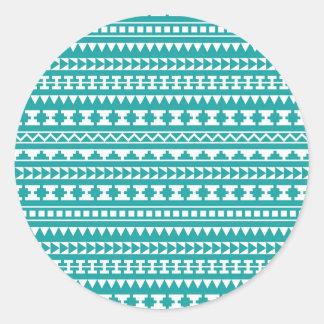 Modelo azteca tribal del trullo de moda etiqueta redonda