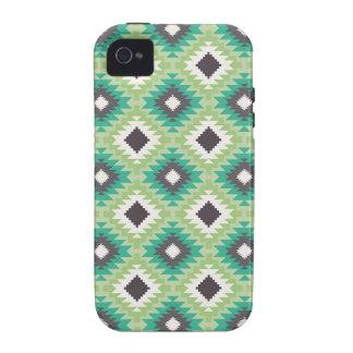Modelo azteca tribal geométrico de la aguamarina iPhone 4 funda
