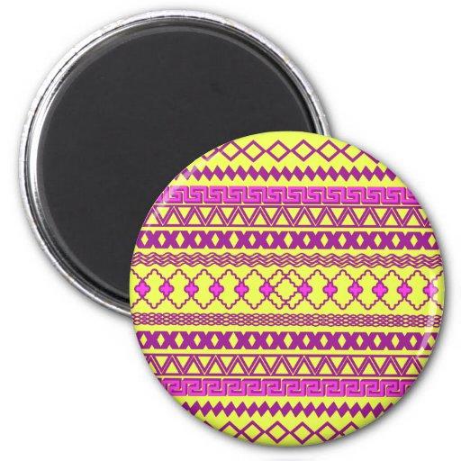 Modelo azteca tribal rosado amarillo de neón de mo iman para frigorífico
