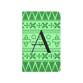 Modelo azteca verde claro del monograma cuadernos
