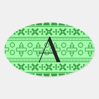 Modelo azteca verde claro del monograma calcomanía de óval
