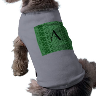 Modelo azteca verde claro del monograma camiseta sin mangas para perro