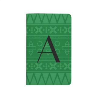 Modelo azteca verde del monograma cuadernos