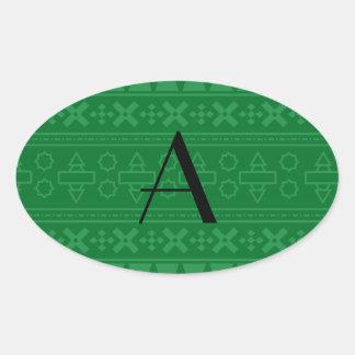 Modelo azteca verde del monograma pegatinas ovaladas