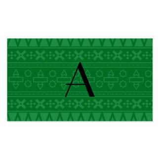 Modelo azteca verde del monograma tarjetas de negocios