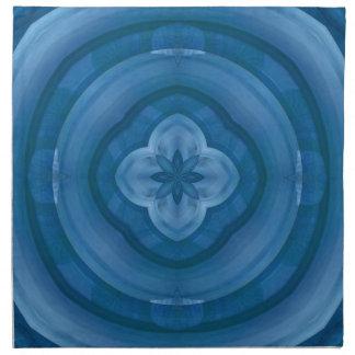 Modelo azul abstracto con la flor de madera servilletas imprimidas