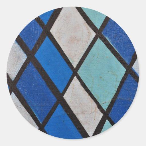 modelo azul abstracto de las formas pegatina redonda