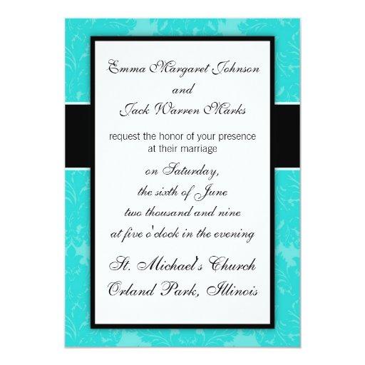 modelo azul adornado intrépido del damasco invitación 12,7 x 17,8 cm