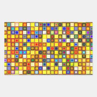 Modelo azul amarillo y fresco abrasador de las rectangular pegatina