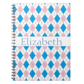 Modelo azul blanco rosado personalizado de Argyle Notebook
