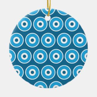 Modelo azul bonito de los círculos concéntricos de adorno redondo de cerámica
