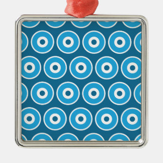 Modelo azul bonito de los círculos concéntricos de adorno cuadrado plateado
