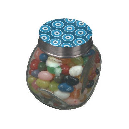 Modelo azul bonito de los círculos concéntricos de frascos cristal