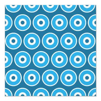 """Modelo azul bonito de los círculos concéntricos de invitación 5.25"""" x 5.25"""""""