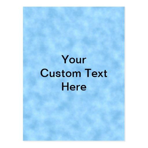 Modelo azul claro con el texto negro de encargo postales