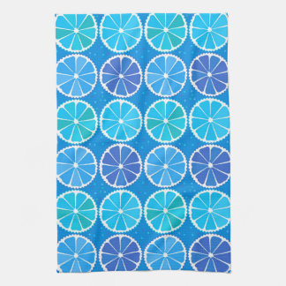 Modelo azul claro de la fruta cítrica toalla de cocina