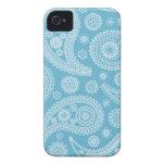 Modelo azul claro de Paisley Case-Mate iPhone 4 Protectores