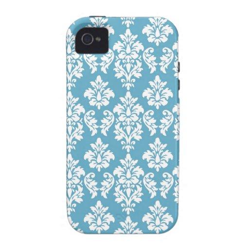 Modelo azul claro del damasco del vintage iPhone 4 funda