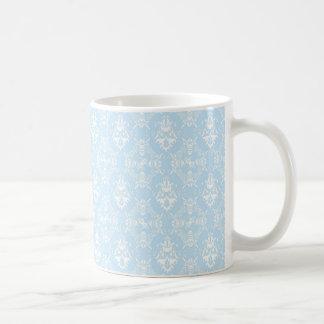 Modelo azul claro del damasco taza básica blanca