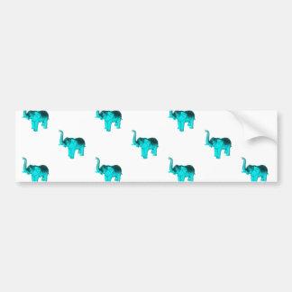 Modelo azul claro del elefante etiqueta de parachoque