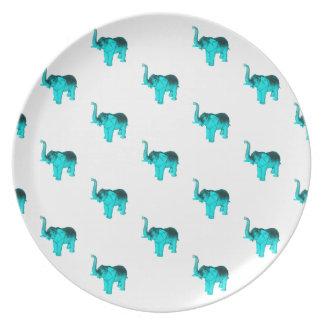 Modelo azul claro del elefante plato de comida