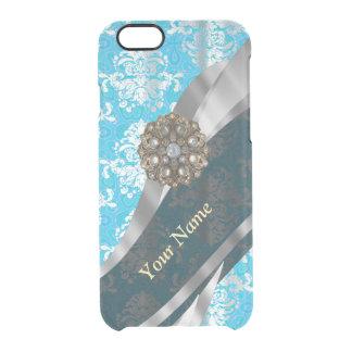 Modelo azul claro personalizado del damasco del funda clearly™ deflector para iPhone 6 de uncommon